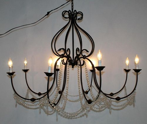 8-arm iron chandeliers with crystals