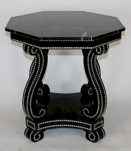 Studded octagonal side table with marble