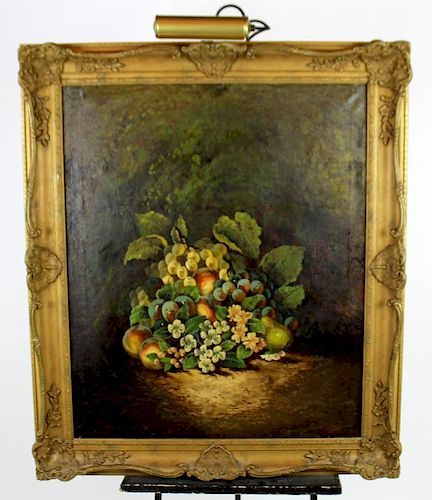 Oil on canvas floral and fruited still life