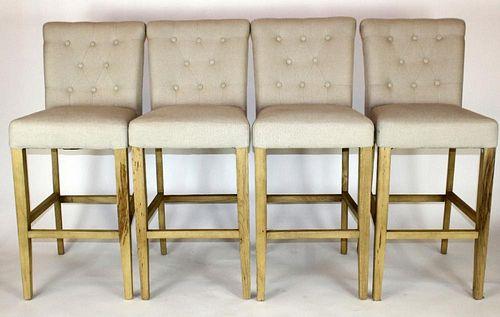 Set of 4 weathered oak tufted bar stools