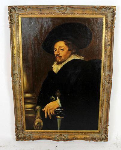 Oil on canvas portrait of Spanish conquistador