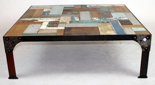 Iron base coffee table with painted top