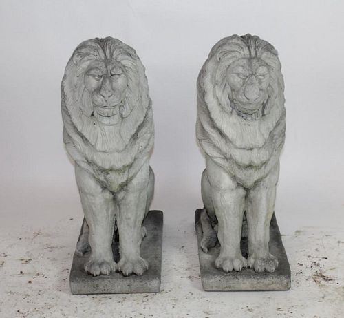 Pair of cast stone entry lions