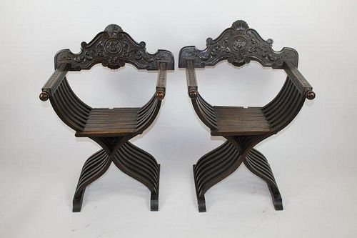 Pair of Italian Savonarola chairs