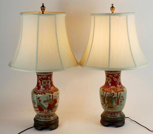 Pair of painted ceramic oriental lamps