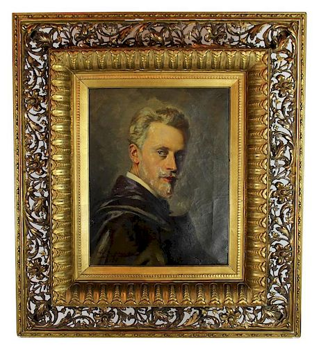 Michel-Eugene Emile Bogaers Oil on canvas self portrait