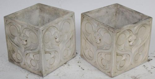 A pair of Gothic style square planter