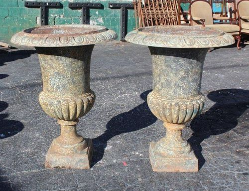 A pair of cast iron classical urns.
