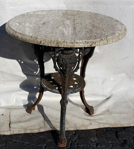 Cast Iron marble top garden table