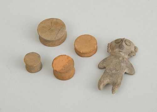 PRE-COLUMBIAN SMALL GREY POTTERY STANDING FIGURE AND FOUR POTTERY EAR SPOOLS