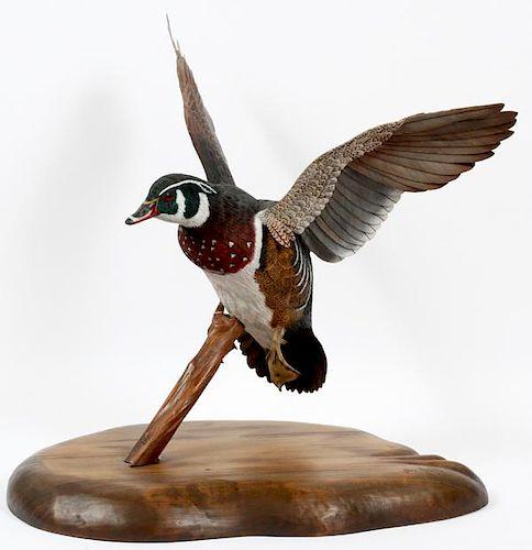 JIM MARTIN CARVED WOOD BIRD SCULPTURE