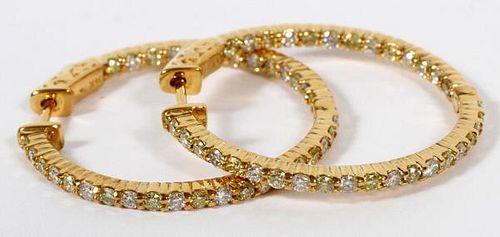 YELLOW DIAMOND AND 14KT YELLOW GOLD HOOP EARRINGS