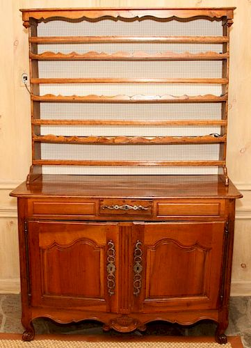 COUNTRY FRENCH CARVED WALNUT HUTCH