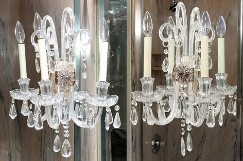 CRYSTAL TWO LIGHT SCONCES THREE
