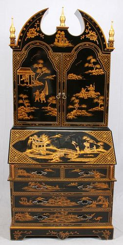 CHINOISERIE-STYLE LACQUERED SECRETARY