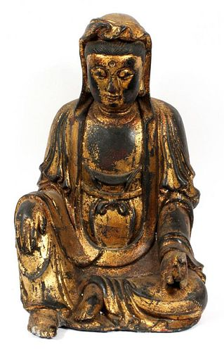 CHINESE LACQUER AND GOLD HIGHLIGHTS BUDDHA