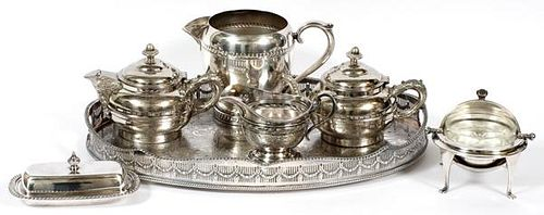 SILVERPLATE 2 TEAPOTS PITCHER COVERED BUTTER DISH