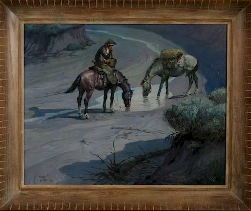 CHARLIE DYE (1906-1972) OIL ON CANVAS BOARD