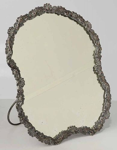 Silver on Copper Table Top Mirror