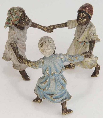 Painted Metal Figure of Three Children