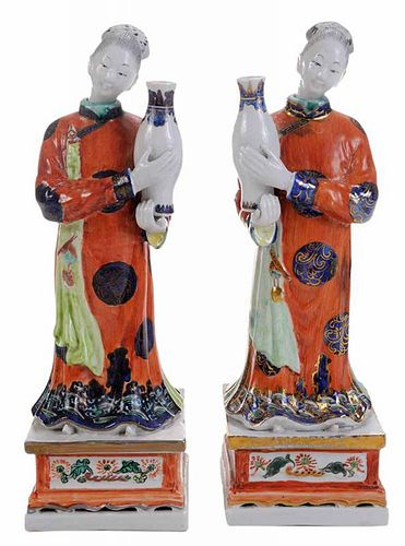 Pair Painted Porcelain Figures as