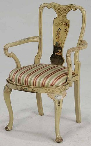 Queen Anne Style Painted Arm Chair