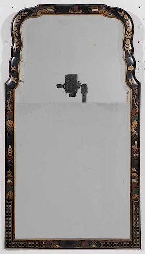 Japaned Beveled Glass Mirror