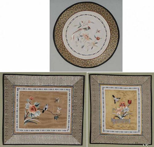 Three Framed Chinese Embroideries