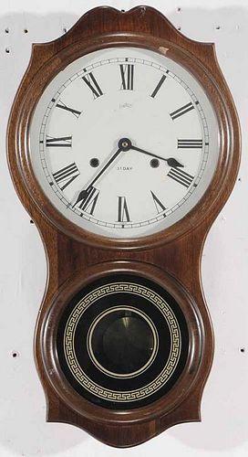 Mahogany Wall Clock Signed Daekor