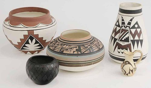 Five Pieces Native American Pottery