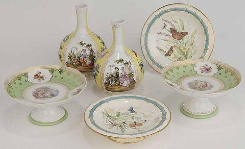 Group of Six Pieces Porcelain