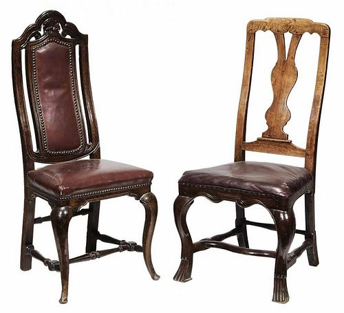 Two Queen Anne Leather Upholstered