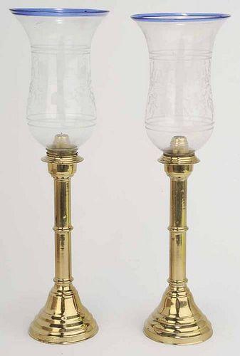 Pair of Russian Brass Candlesticks