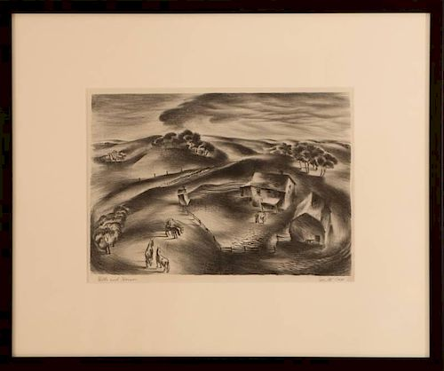JOSEPH H. (JOE) COX (1915-1997) PENCIL SIGNED LITHOGRAPH