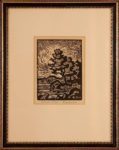BIRGER SANDZEN (1871-1954) LINOLEUM CUT 'COLORADO STREAM' 1952