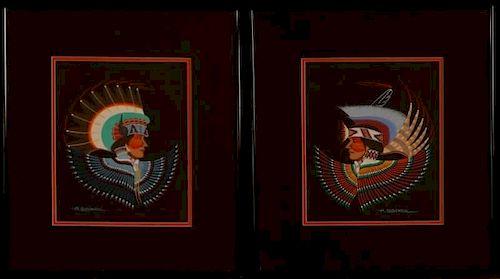 ARCHIE BLACKOWL (1911-1992) GOUACHE ON PAPER PAINTINGS