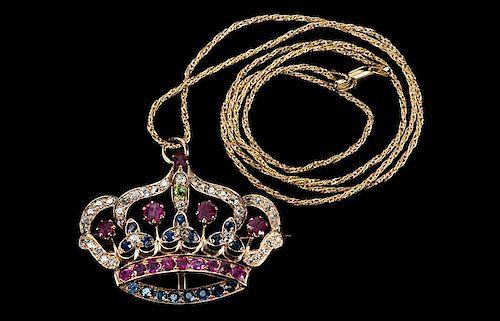 Bess Houdini's Diamond and Gemstone Brooch