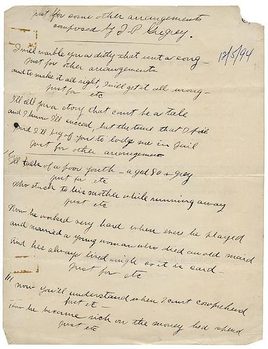 Houdini, Houdini. Three Pages of Rhyming Verse Written by Harry Houdini.