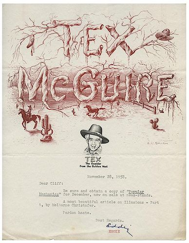 "McGuire, Eddie ""Tex."" Trove of McGuire's Files and Letters to and from an Array of Magicians."