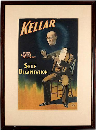 Kellar in His Latest Mystery. Self Decapitation.
