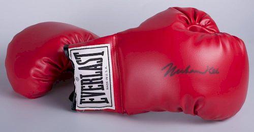 Muhammad Ali Signed Boxing Glove Set