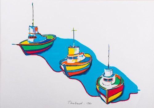 "Wayne Thiebaud 1961 ""Bateaus"" Watercolor"