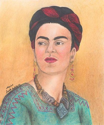 Frida Kahlo 1941 Self Portrait, Colored Pencil