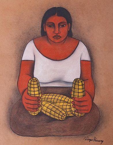 "Diego Rivera ""Estudio para Mural"" Mixed Media"