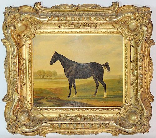 Henri De Lattre. Oil on Board, Horse