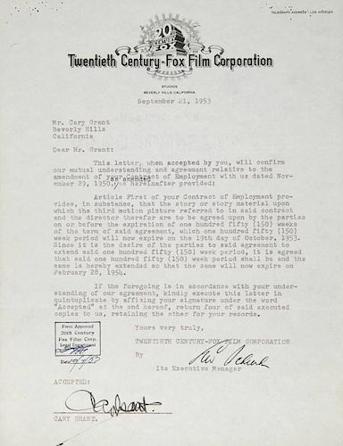 CARY GRANT SIGNED CONTRACT AMENDMENT