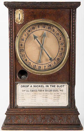 "Western Weighing Machine Co. ""The Eclipse"" 5 Cent Wood Cigar Trade Stimulator."