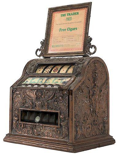 "Mills Novelty Co. ""The Trader"" 5 Cent Cast Iron Cigar Trade Stimulator on Wood base."