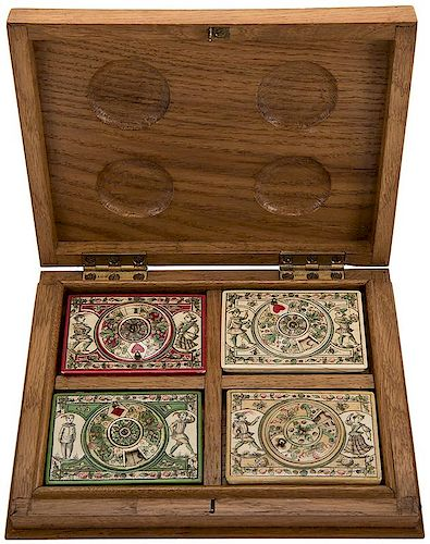 Four Scrimshawed & Hand Painted Ivory Quadrille Boxes with Ivory Scorers on the Lids and Ivory Markers Inside in a Custom Mad
