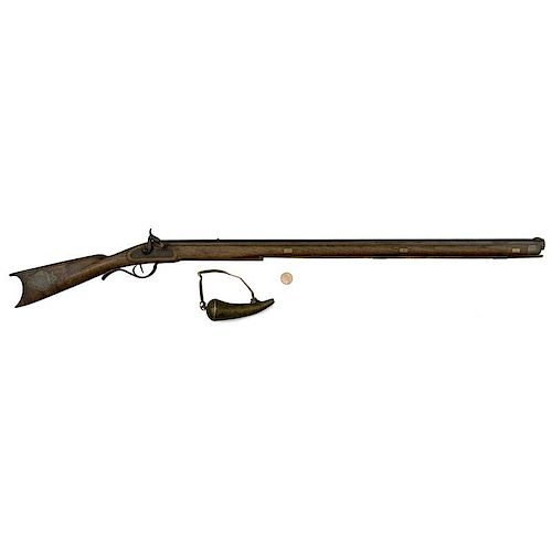 Minature Fullstock Percussion Rifle With Powder Horn